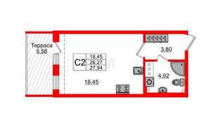 Квартира в ЖК Зеленый квартал на Пулковских высотах, студия, 26.27 м², 5 этаж