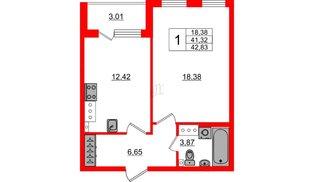 Квартира в ЖК Зеленый квартал на Пулковских высотах, 1 комнатная, 41.32 м², 3 этаж
