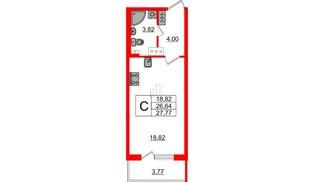 Квартира в ЖК Зеленый квартал на Пулковских высотах, студия, 26.64 м², 2 этаж