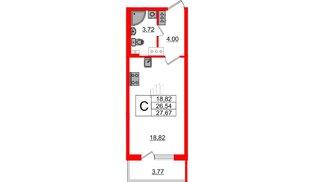 Квартира в ЖК Зеленый квартал на Пулковских высотах, студия, 26.54 м², 3 этаж