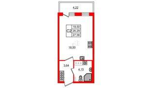 Квартира в ЖК Зеленый квартал на Пулковских высотах, студия, 26.29 м², 2 этаж