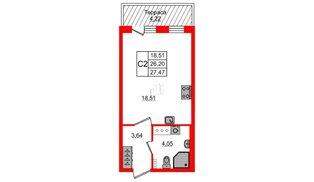 Квартира в ЖК Зеленый квартал на Пулковских высотах, студия, 25.8 м², 5 этаж