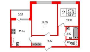 Квартира в ЖК Зеленый квартал на Пулковских высотах, 2 комнатная, 52.78 м², 3 этаж