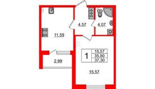 Квартира в ЖК Зеленый квартал на Пулковских высотах, 1 комнатная, 35.8 м², 2 этаж