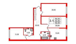 Квартира в ЖК ПАЛАЦИО, 3 комнатная, 91 м², 1 этаж