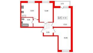 Квартира в ЖК Весна-3, 3 комнатная, 77.7 м², 4 этаж