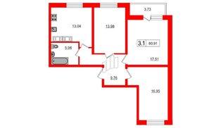 Квартира в ЖК Весна-3, 3 комнатная, 76.7 м², 20 этаж