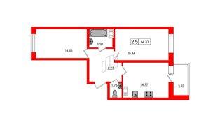 Квартира в ЖК Весна-3, 2 комнатная, 60.4 м², 8 этаж