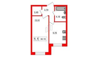 Квартира в ЖК Весна-3, 1 комнатная, 36.1 м², 1 этаж