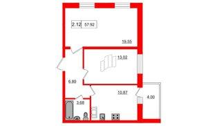 Квартира в ЖК Весна-3, 2 комнатная, 53.8 м², 3 этаж