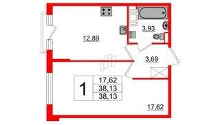 Квартира в ЖК ПАЛАЦИО, 1 комнатная, 38.13 м², 3 этаж