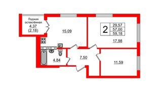 Квартира в ЖК Стерео, 2 комнатная, 60.03 м², 4 этаж