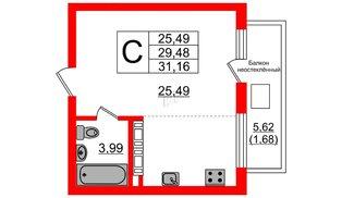 Квартира в ЖК Стерео, студия, 31.16 м², 6 этаж