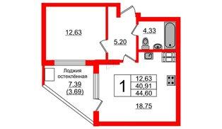 Квартира в ЖК Стерео, 1 комнатная, 44.6 м², 9 этаж
