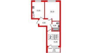 Квартира в ЖК Стерео, 2 комнатная, 48.87 м², 1 этаж