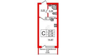 Квартира в ЖК Стерео, студия, 22.88 м², 2 этаж