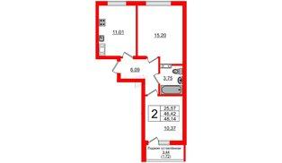 Квартира в ЖК Стерео, 2 комнатная, 48.17 м², 10 этаж