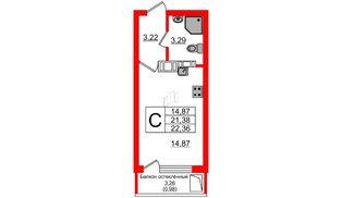 Квартира в ЖК Стерео, студия, 22.36 м², 12 этаж