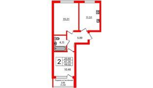 Квартира в ЖК Стерео, 2 комнатная, 49.12 м², 1 этаж