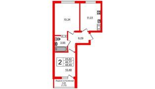 Квартира в ЖК Стерео, 2 комнатная, 48.46 м², 9 этаж