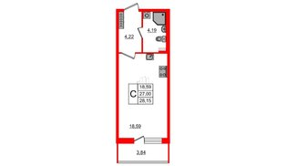 Квартира в ЖК Зеленый квартал на Пулковских высотах, студия, 27 м², 1 этаж