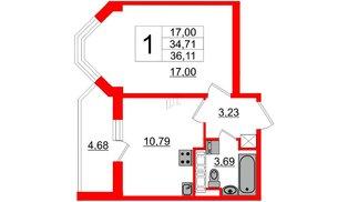 Квартира в ЖК «Солнечный город», 1 комнатная, 34.7 м², 12 этаж