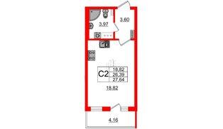 Квартира в ЖК Зеленый квартал на Пулковских высотах, студия, 25.8 м², 4 этаж