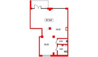 Помещение в ЖК GREENЛАНДИЯ 2, 67.6 м², 1 этаж