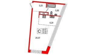 Квартира в ЖК Next, студия, 37.42 м², 8 этаж