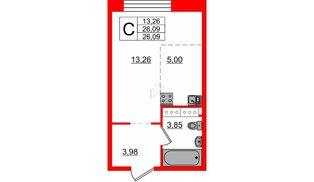 Апартаменты в ЖК Next, студия, 26.09 м², 11 этаж