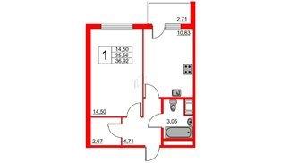 Апартаменты в ЖК VALO, 1 комнатные, 37.38 м², 18 этаж