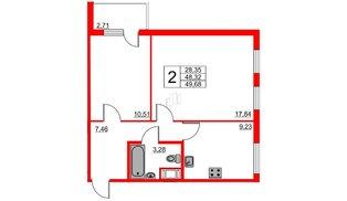 Апартаменты в ЖК VALO, 2 комнатные, 50.22 м², 6 этаж
