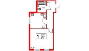 Апартаменты в ЖК VALO, 1 комнатные, 35.23 м², 18 этаж