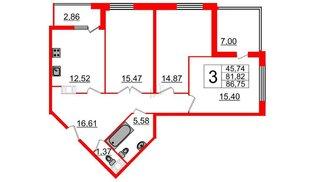 Квартира в ЖК Галактика, 3 комнатная, 86.9 м², 9 этаж