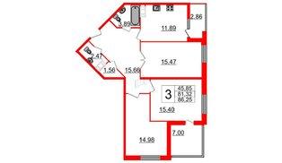 Квартира в ЖК Галактика, 3 комнатная, 86.8 м², 10 этаж