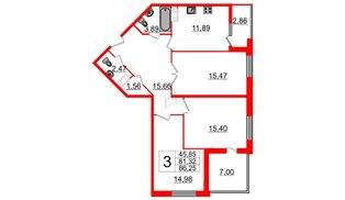Квартира в ЖК Галактика, 3 комнатная, 86.9 м², 6 этаж