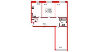Квартира в ЖК Fusion, 3 комнатная, 118.1 м², 4 этаж