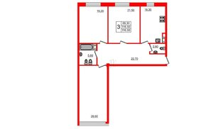 Квартира в ЖК Fusion, 3 комнатная, 120.1 м², 4 этаж