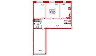 Квартира в ЖК Fusion, 3 комнатная, 119.9 м², 5 этаж