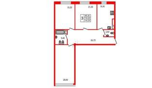 Квартира в ЖК Fusion, 3 комнатная, 119.8 м², 7 этаж