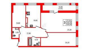 Квартира в ЖК Fusion, 3 комнатная, 129 м², 8 этаж