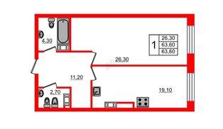 Квартира в ЖК Fusion, 1 комнатная, 65.5 м², 8 этаж