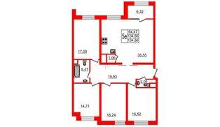 Квартира в ЖК Botanica, 4 комнатная, 134.86 м², 9 этаж