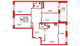 Квартира в ЖК Botanica, 4 комнатная, 144.73 м², 8 этаж