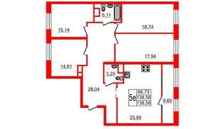 Квартира в ЖК Botanica, 4 комнатная, 138.58 м², 9 этаж