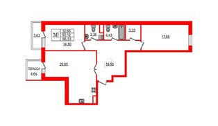 Квартира в ЖК YE'S, 2 комнатная, 105.6 м², 2 этаж
