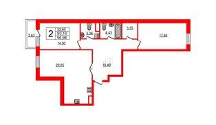 Квартира в ЖК YE'S, 2 комнатная, 104.21 м², 3 этаж