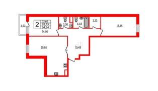 Квартира в ЖК YE'S, 2 комнатная, 104.2 м², 6 этаж