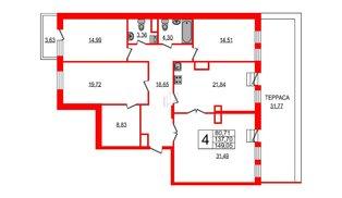 Квартира в ЖК YE'S, 4 комнатная, 157.74 м², 7 этаж
