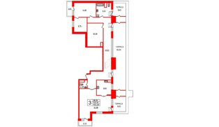 Квартира в ЖК YE'S, 3 комнатная, 157.02 м², 9 этаж